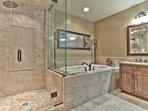 Master Bedroom Suite Private Bath with Stone Shower and Roman Tub
