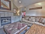 Upper Level 2nd Living Room with Comfortable Furnishings, Wood Fireplace and Smart TV