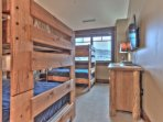 Bedroom 3 Bunk Room with Two Twin over Twin Bunks, 42' HD Smart TV, Private Bath