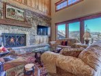 Living Room with 55' TV/DVD/Surround Sound, Wood Buring Fireplace, Deck Access