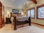 Master Bedroom Upper Level with Queen Bed, TV and Private Bath