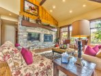 Living Room on Main Level,  Fireplace, HD TV/DVD, Private Deck, and Great Mountain Views