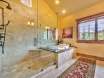 Grand Master Bathroom with Dual Sinks, Stone Shower and Jetted Tub
