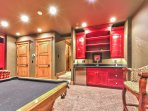 Game Room with Pool Table, HD TV/Blue Ray DVD/Surround Sound, and Custom Wet Bar on the Lower Level