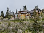 Rear Exterior View of Lookout 18 with 2 Levels of Decks all Overlooking Deer Valley and Park City