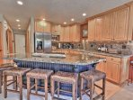 Gourmet Kitchen with Granite Countertops, Stainless Steel Appliances, Bar Seating for 5