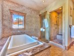 Master Bath with Jacuzzi Tub and Walk-In Stone Shower