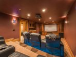 Theater Room with 103' HD Movie Screen, Blu-Ray, Surround Sound, Luxury Seating and Wet Bar