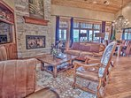 Great Room with HD TV, Fireplace and Deck Access