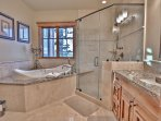 Grand Master Bathroom with Roman Tub, Stone Shower and Dual Sinks