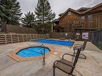 Communal Heated Pool and Large Hot Tub and Gas Fire Pit at Snowblaze