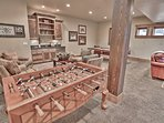Lower Level Game Room with Pool Table, Foosball, Card Table and  Family Room Set Up