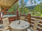 Private Deck off the Great Room with Patio Seating, Hot Tub and Mountain Views