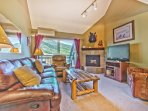 Living Room with Recliner Sofa and Chair, Flat Screen TV and DVD, an LG A/C Unit, and Private Deck with Park City...