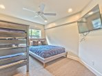 Bedroom 3 with Queen Bed, Twin Bunk Bed, TV and Full Bath Access