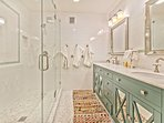 Shared Bath with Quartz Countertops, Dual Sinks and Dual Head Oversized Shower