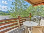 BBQ and Patio Seating with Mountain Views from the Private Deck