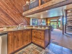 Great Room with Kitchen, Dining Area, Living Room, Private Deck and a Loft