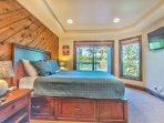 Bedroom 3 on the Lower Level with Queen Bed, Smart TV and Private Deck with a 7-Seat Hot Tub