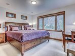 Upper Level Master Bedroom 2 with Tempur-Pedic King Bed, a Private Bath and Deck Access