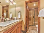 Lower Level Shared Bath with Large Sink and Dual Faucets, and Separate Tile Shower