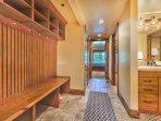 Lower Level Hallway Coat Rack and Storage, and Shared Bath