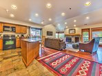 Large Living Area with Flat Screen TV, Pullout Queen adjoining the spacious kitchen