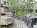 Wrap Around Deck of Dining Area and Master Bedroom 2 with BBQ Grill, Patio Seating for 8 and 5-Person Hot Tub