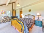 2nd Level Master Bedroom with a Queen Bed and Twin Sleeper Chair, a Private Full Bathroom, and a Deck with Beautiful...