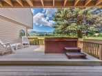 Private Deck off Living Room with a Hot Tub available for use during winter months, Seating and a Beautiful View