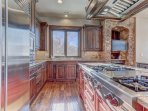 Fully Equipped Gourmet Chef's Kitchen with Subzero Refrigerator, Wolf Stove and HD Smart TV