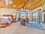 Master Bedroom with King Bed, 50' HD TV and DVD, Seating Area with Fireplace, Private Deck, Private Bath