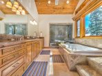 Master Bath with Large Jacuzzi Soaking Tub, Walk in Stone Steam Shower