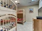 Bedroom 3-2 Sets of Twin over Twin Bunks, TV