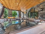 Secluded Exterior Patio with a Hot Tub and Seating