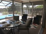Lanai with Dining table and Seating Set-Pool and Lake View