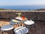 Top terrace breakast point with amazing ocean view at villa amalfi coast in Gulf of Naples