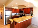 Fully stocked kitchen, 2014 luxury remodel: granite counter, cherry cabinets & ss appliances