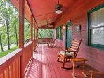 The large covered porch is a great area to watch for wildlife.