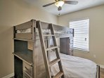 Any children in your group will adore sleeping in the third bedroom, which features a twin-over-twin bunk bed.