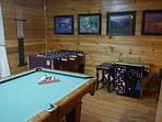 Pool table, foosball, arcade