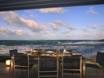 The spacious balcony overlooking Fistral Beach