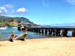 Hanalei beach and pier