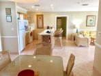kitchen, dining, living areas