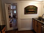 Titanic themed nautical house, kitchen door to dining area