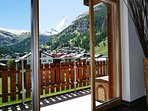 Large and very sunny balcony with Matterhorn and village view