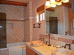 Master tub/shower combo & double marble sinks