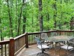 Patio dining in the woods