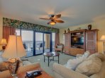 Living Room with Direct Access to Oceanfront Balcony includes Queen Pullout Sofa Bed