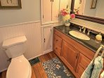 You'll find a full bathroom on the first floor with a tub/shower combo.